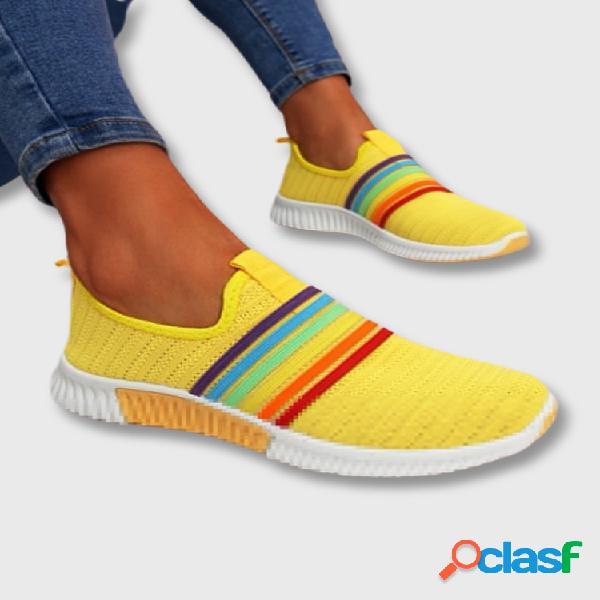 Plus tamaño mujer zapatos para caminar ocasionales transpirables de punto con rayas arcoíris