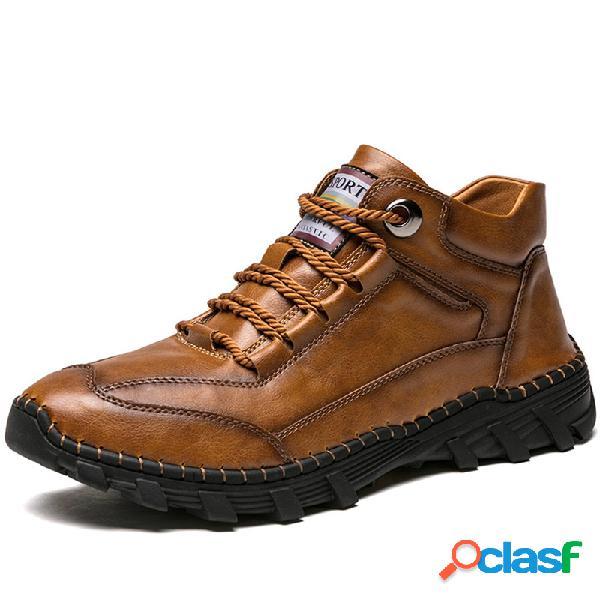 Hombres microfibra cuero retro antideslizante al aire libre tobillo casual botas