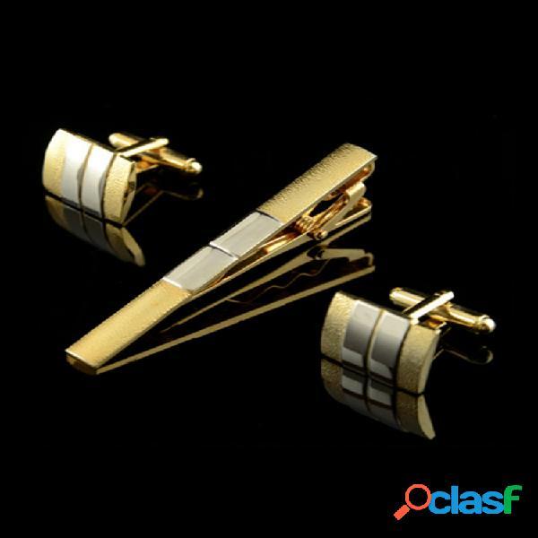 Hombres clip de corbata mate gemelos de traje business silver golden gemelos de corbata