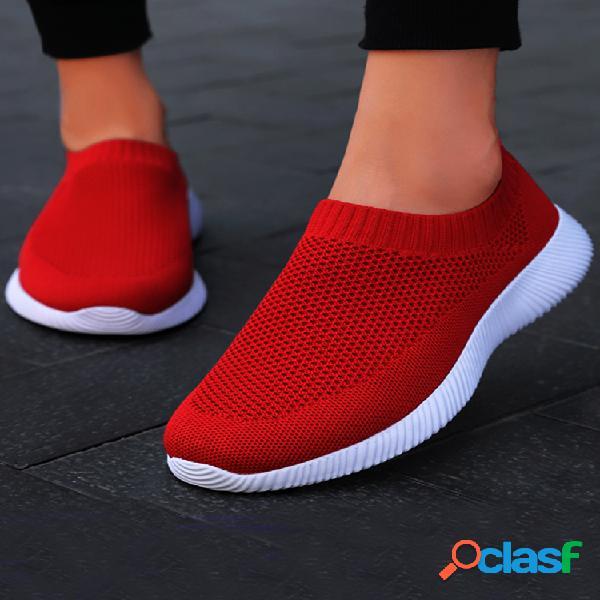 Plus tamaño mujer zapatillas de deporte sin cordones de punto de malla de aire transpirable para caminar zapatillas de deporte zapatos