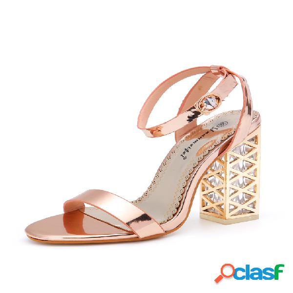 Mujer transparente hebilla alta individual banda zapatos de tacones gruesos