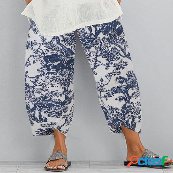 Vendimia cintura elástica estilo chino plus tamaño mujer pantalones