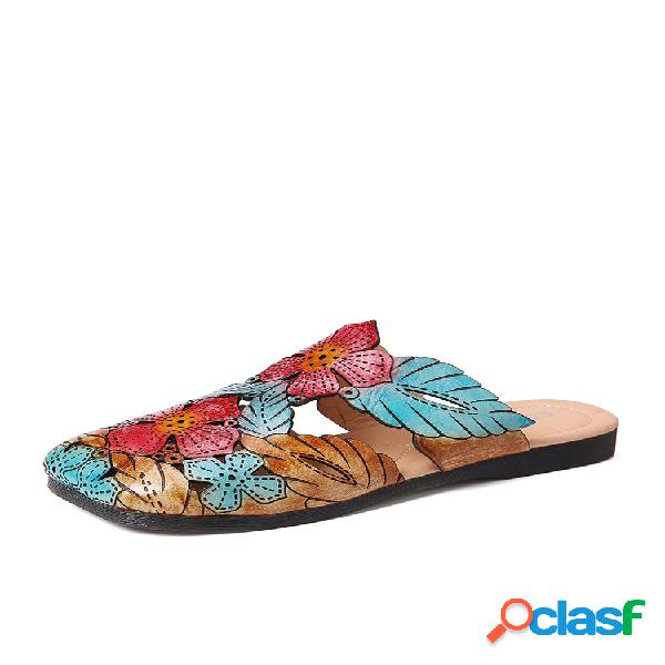 Socofy retro cuero bohemia empalme hojas florales soft punta cuadrada zapatillas