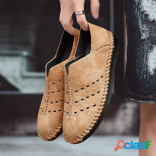 Hombres Costuras a mano Soft Transpirable antideslizante Soft Suela al aire libre Zapatos casuales