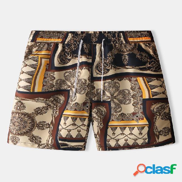 Hombres vendimia pantalones cortos de lujo con estampado hawaii retro playa pantalones cortos con bolsillos