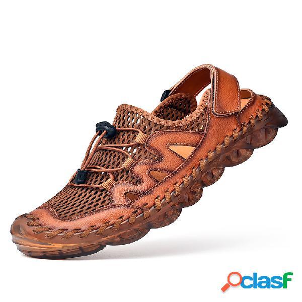 Hombres empalme de malla con puntera de goma zapatillas al aire libre agua sandalias