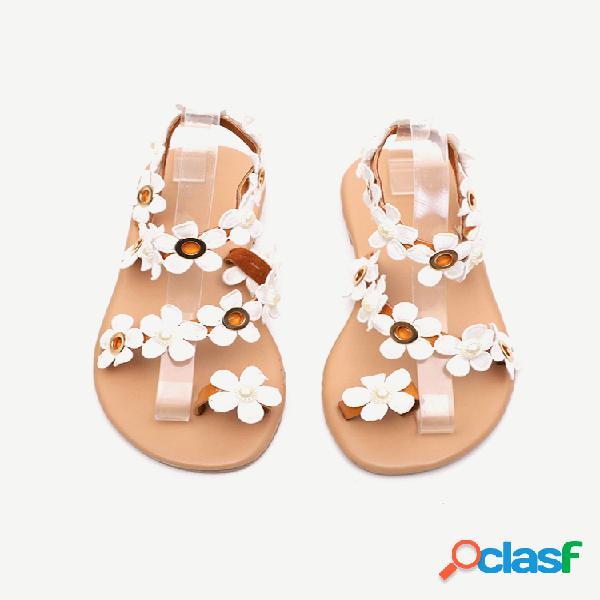 Mujer anillo de dedo con decoración de flores dulces casual falt strappy sandalias