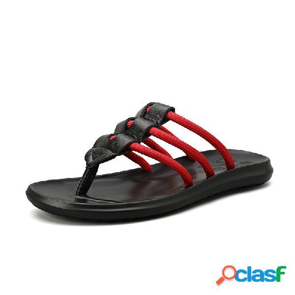 Hombres cómodos antideslizantes clip toe flip flop casual playa zapatillas