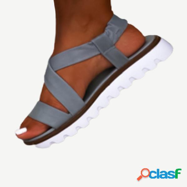 Mujer color sólido correa cruzada espalda elástico para vestir casual plano sandalias