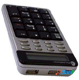 Techzone teclado numérico con calculadora tzckph01, alámbrico, gris/negro