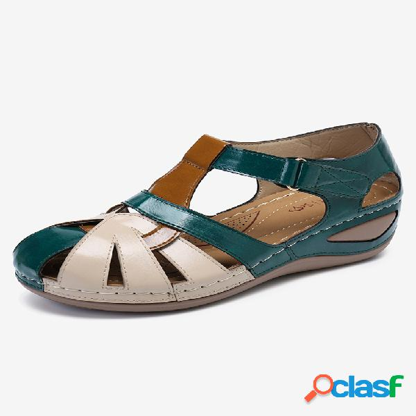 Lostisy mujer bloque de color cómodo usable gancho cuñas informales con lazo sandalias
