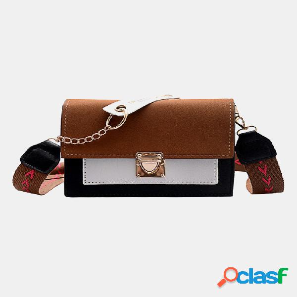Mujer color de golpe frosted casual chains crossbody bolsa