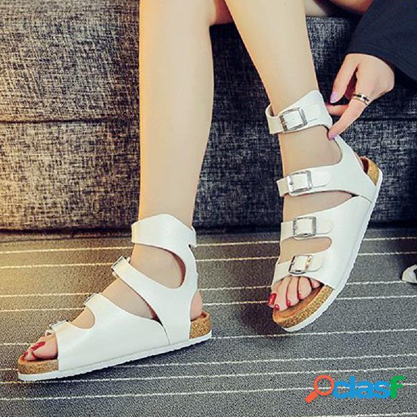 Mujer vendido color cómodo correa de hebilla con punta abierta soft sandalias