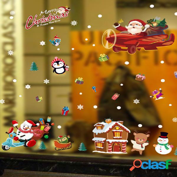 Miico sk9245 pegatina navideña de animales de dibujos animados pegatinas de pared extraíbles para decoración navideña