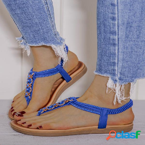 Lostisy decor comfy clip toe elastic playa plano sandalias