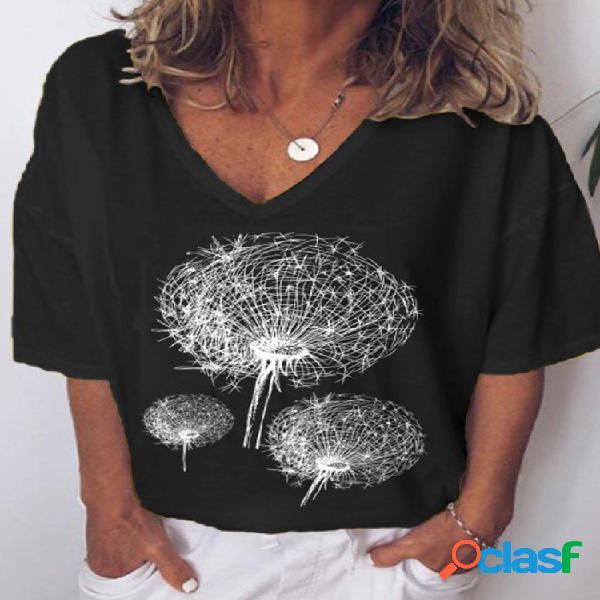 Camiseta de manga corta con cuello de pico y estampado de flores para mujer