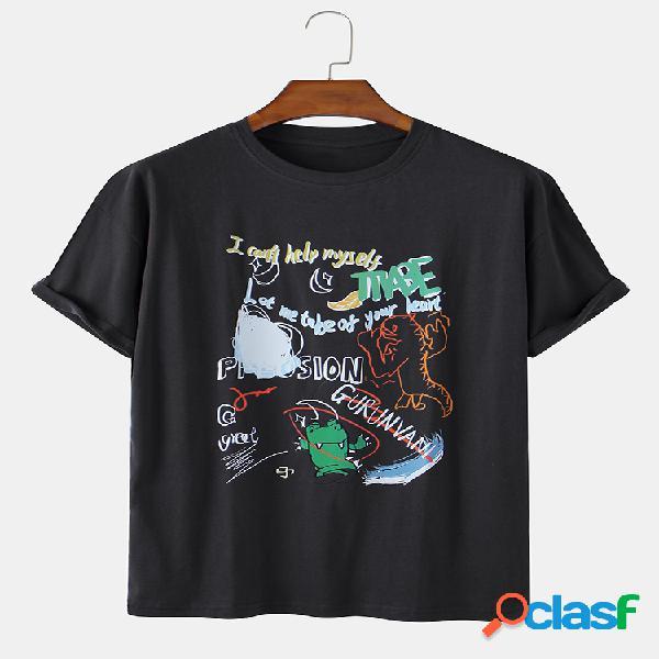 Camisetas divertidas con cuello en o estampadas de dinosaurio y eslogan graciosas para hombre
