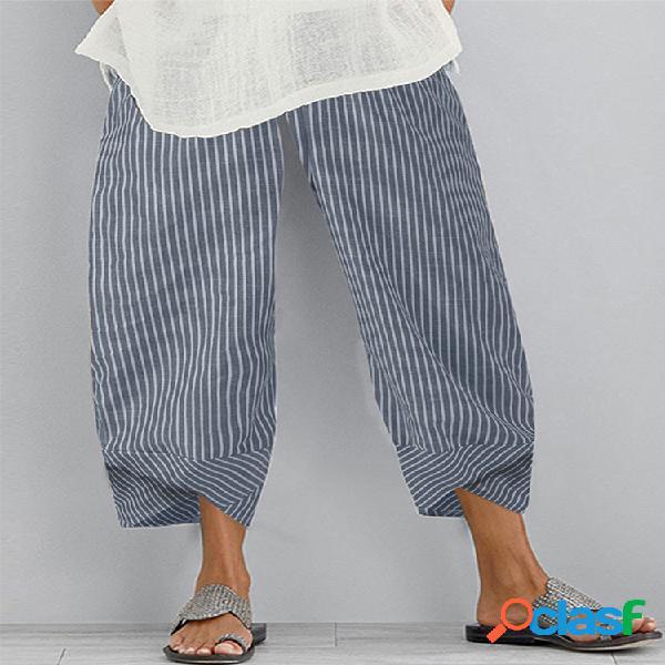 Patchwork de rayas plus talla casual pantalones para mujer
