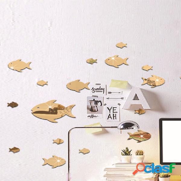 Pez burbuja pegatina de pared océano pez espejo pegatina autoadhesivo acrílico espejo pared pegatina adecuado para habitación de niños jardín de infantes