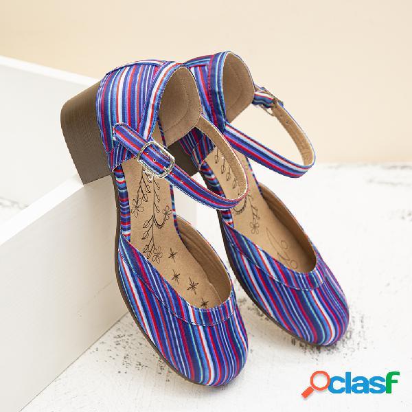 Zapatos de tacón grueso con correa de hebilla redonda de punta redonda informal de lostisy