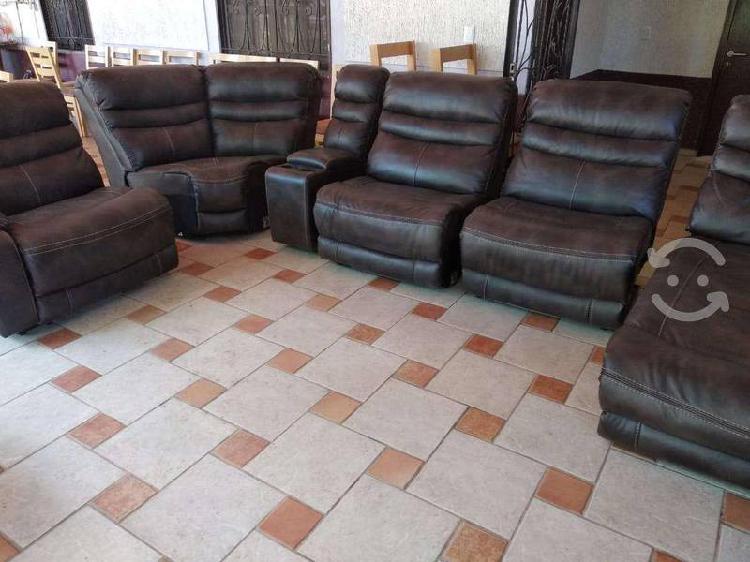 Sala sillones reclinables (combinacion piel)