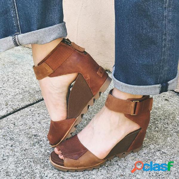 Tamaño grande mujer cuñas de cremallera peep toe cómodas empalmes sandalias