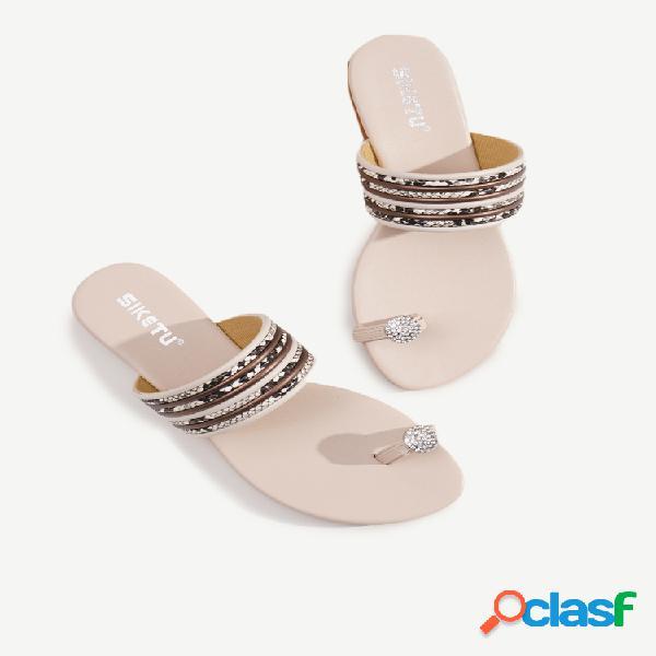 Mujer diamante de imitación clip dedo del pie plano casual plano sandalias