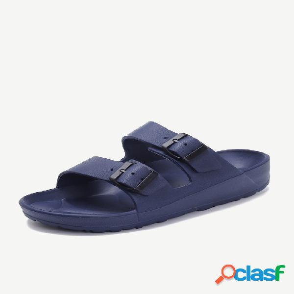 Sandalias de playa suaves del dedo del pie abierto doble del metal de los hombres