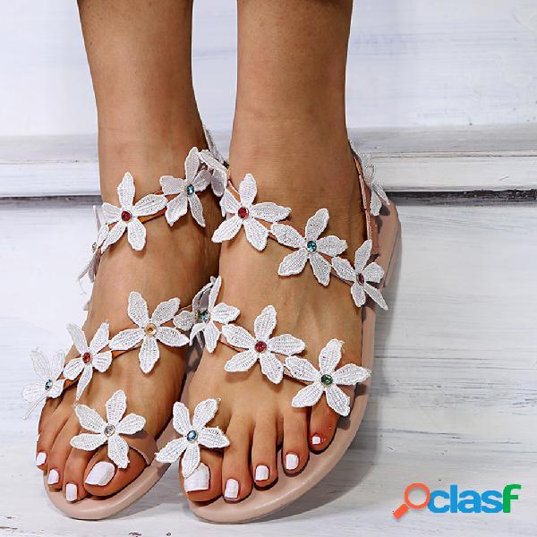Mujer flores decoración casual cómodo dedo del pie del clip strappy plano sandalias