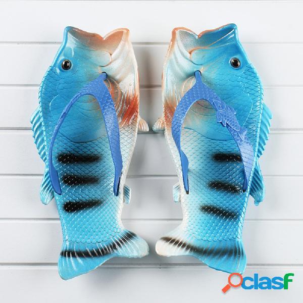 Tamaño grande mujer casual playa chanclas con forma de pez zapatillas