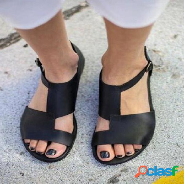 Tamaño grande mujer hebilla de punta abierta hueca transpirable negro plano sandalias