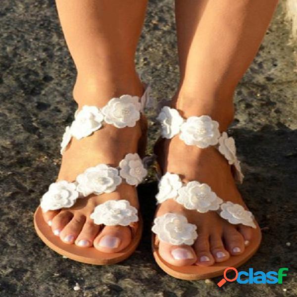 Tamaño grande mujer summer flowers chanclas planas con tiras sandalias