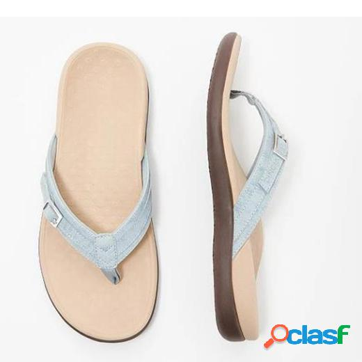 Mujer chanclas con hebilla casual flat playa zapatillas