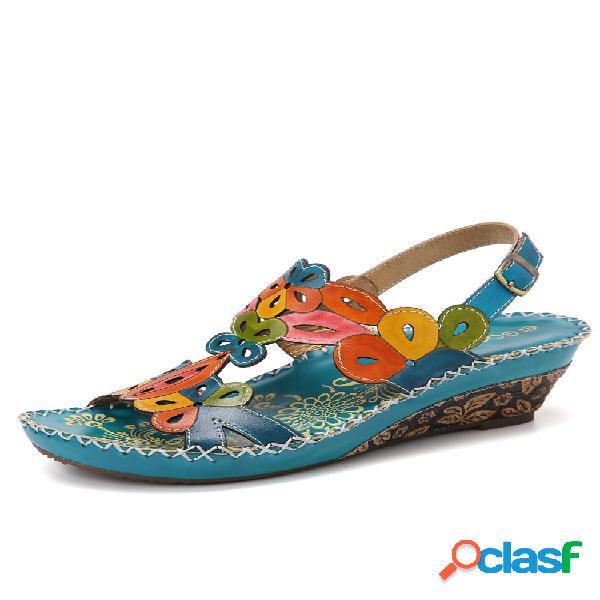 Socofy cuña de costura con aberturas florales y hebilla de cuero sandalias
