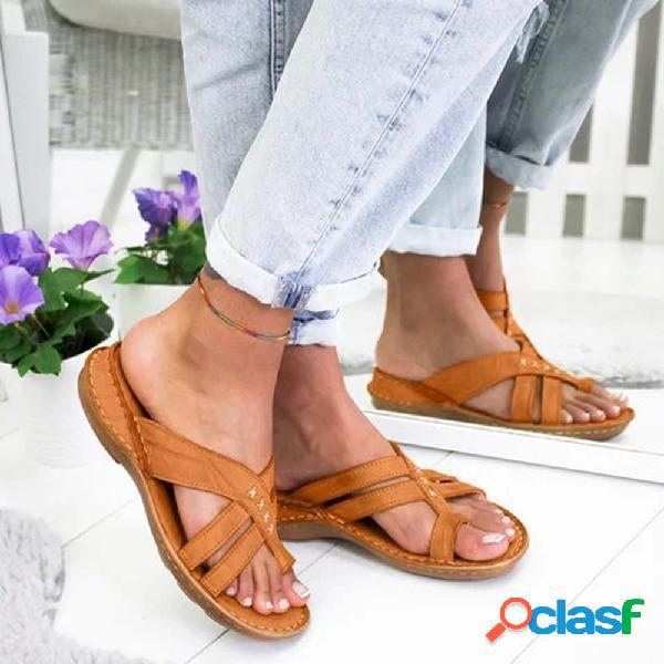Mujer punta de clip plana cómoda de gran tamaño al aire libre sandalias