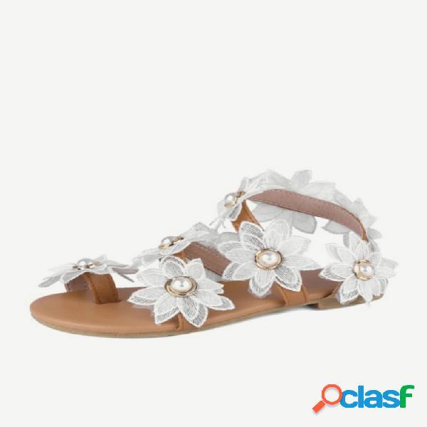 Mujer flor de sol decoración de perlas de imitación cómoda punta plana con clip sandalias