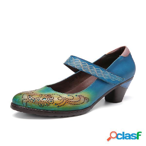 Socofy vendimia recortes de cuero en contraste gancho zapatos de salón mary jane de tacón grueso con correa de lazo vestido zapatos