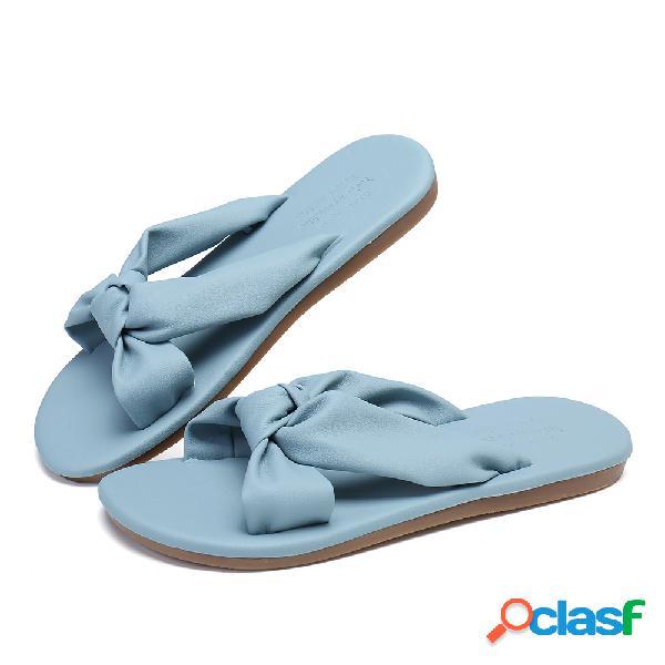 Mujer cruce de color sólido banda planos superiores de pu zapatillas