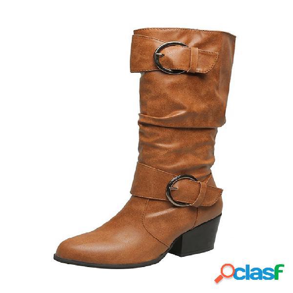 Plus talla mujer hebilla de metal arrugas tacón grueso mediados de pantorrilla botas