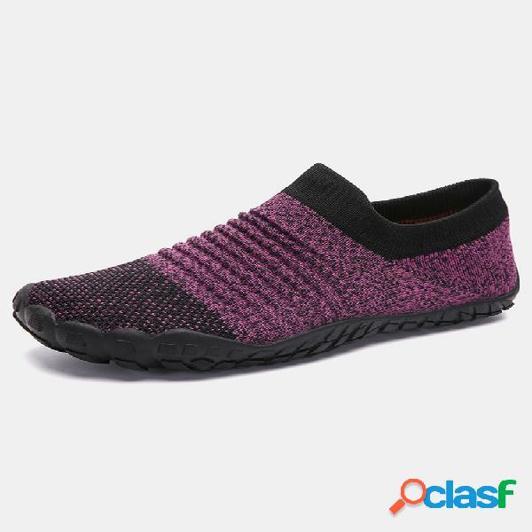 Mujer casual al aire libre zapatos planos grandes de malla con punta redonda sin cordones