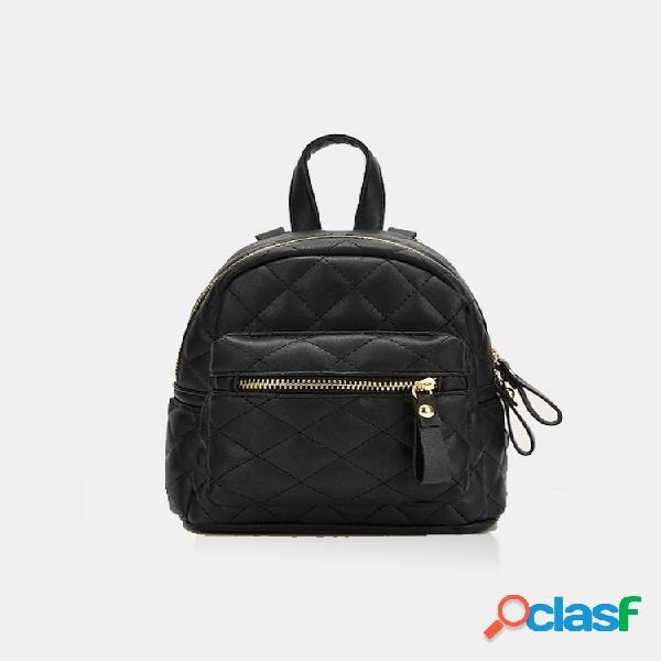 Mujer mini uso acolchado con cremallera mini mochila simple