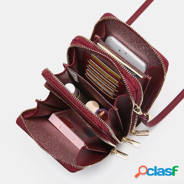 Mujer mini bandolera casual sólida de varias capas bolsa teléfono bolsa