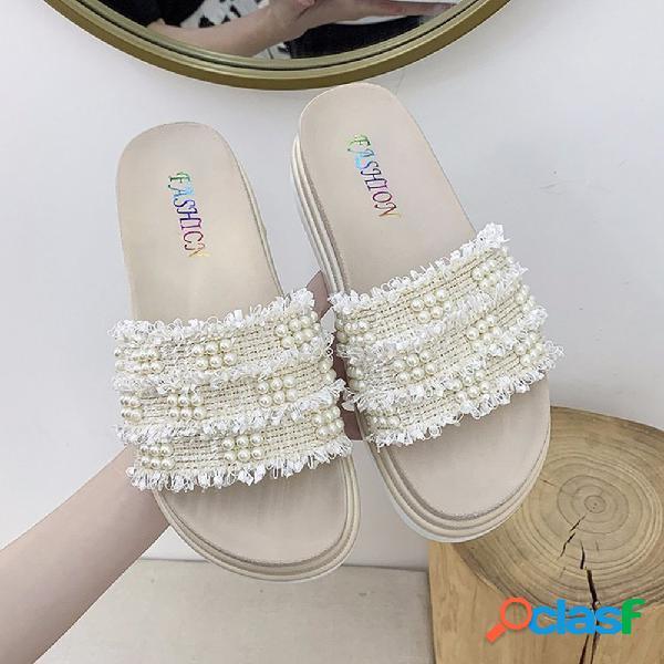 Mujer faux pearl decor tweed deslizadores de plataforma antideslizantes cómodos zapatillas