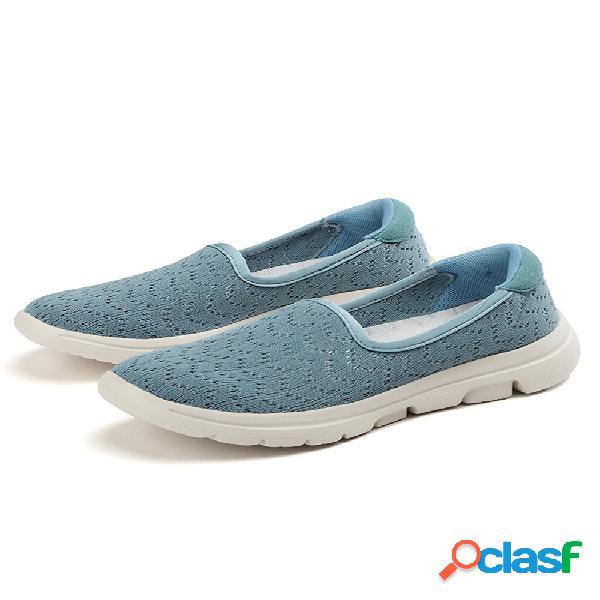 Mujer casual soft zapatos para caminar sin cordones de punto ligero con suela