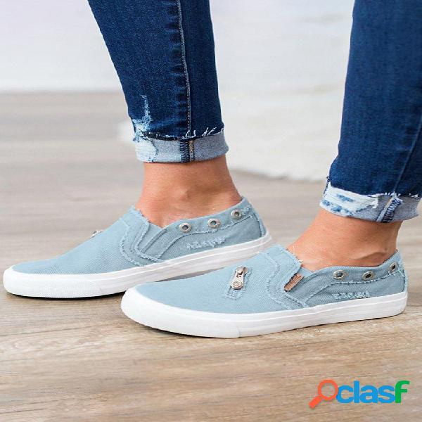 Mocasines con cremallera para mujer, cómodos zapatos planos informales de mezclilla