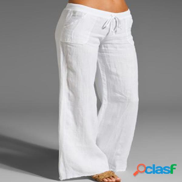 Mujer casual sweet solid pantalones con bolsillo