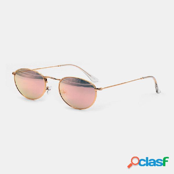 Mujer moda casual retro marco de metal completo borde estrecho forma redonda uv gafas de sol de protección