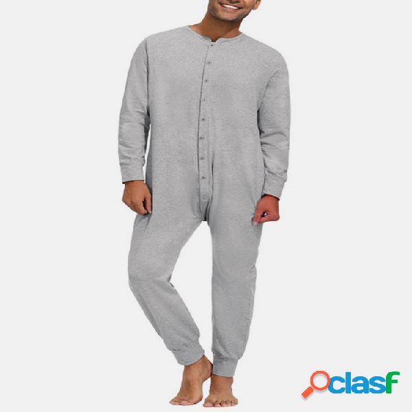 Pure color casual thin soft home botón de cuello redondo de manga larga mono onesies para hombres