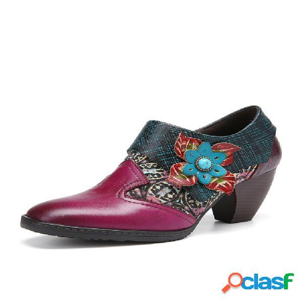 Socofy cómodo empalme de flores piel genuina zapatos de tacón grueso con cremallera