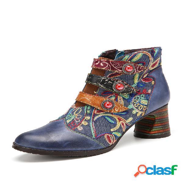 Socofy flores bordado empalme piel genuina suela usable tacón grueso tobillo botas